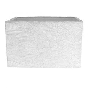 Contemporary Designer Arctic White Crushed Velvet Fabric Rectangular Lamp Shade