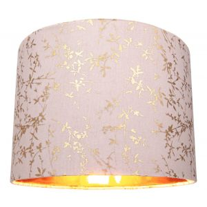 """Modern Soft Pink Cotton Fabric 10"""" Lamp Shade with Gold Foil Floral Decoration"""