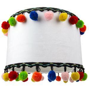 "Unique and Modern White Velvet 12"" Lamp Shade with Multi Coloured Pom Poms"