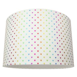 Modern and Vivid White Glitter 30cm Drum Lampshade with Multi Coloured Hearts