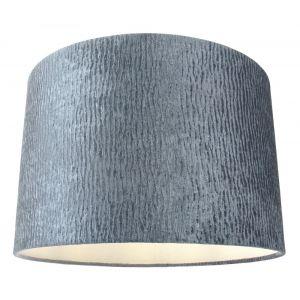 "Designer Shiny Cobalt Grey Rippled Crushed Effect Velvet 12"" Drum Lamp Shade"
