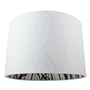 """Contemporary White Cotton 12"""" Drum Lamp Shade with Inner Black Forest Print"""