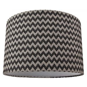 Contemporary Trendy Zig Zag Chevron Effect Black and White Cotton Fabric Shade