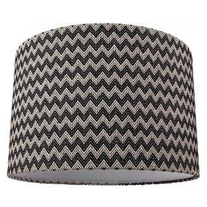 Contemporary Trendy Zig Zag Chevron Effect Black and White Cotton Fabric Shade