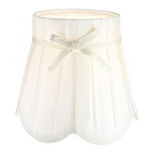 Traditional Cream Faux Silk Fabric Pleated Inner Lined Lamp Shade with Ribbon