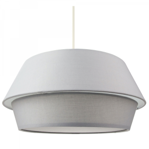 Contemporary Grey Cotton Fabric Double Tier UFO Pendant Lamp Shade with Diffuser