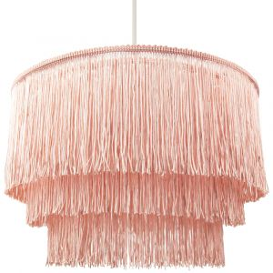 Traditional 3-Tier Pink Fabric Tassels Pendant Light Shade with Decorative Trim