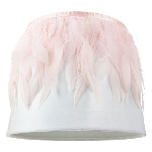 "Modern Designer White Velvet 10"" Lamp Shade with Real Pink Feather Decoration"