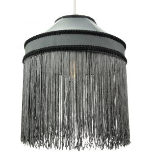 Stylish Grey Pendant Shade with Long Tassels and Decorative Knot Rope Trims