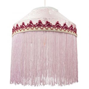 Traditional Pink Pendant Light Shade with Long Tassels and Floral Embroidery