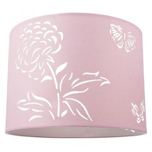Floral Butterflies Children's/Kids Pink Cotton Fabric Bedroom/Pendant Shade