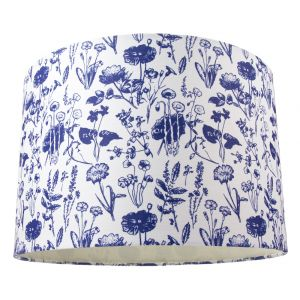 """White Cotton 12"""" Drum Lamp Shade with Blue Floral Decoration and Inner Lining"""