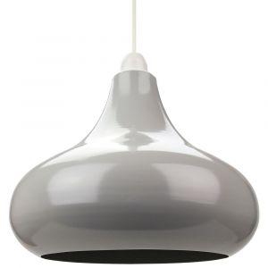 Industrial Retro Designer Grey Gloss Curved Metal Ceiling Pendant Lighting Shade