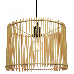 Contemporary Drum Style Light Brown Rattan Wicker Ceiling Pendant Lamp Shade