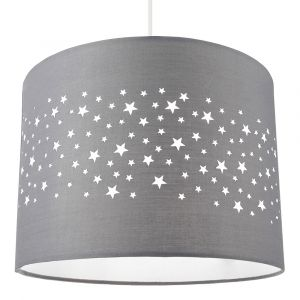 Stars Decorated Children/Kids Soft Grey Cotton Bedroom Pendant or Lamp Shade