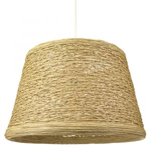 Traditional Thin Woven Light Brown Rattan Wicker Ceiling Pendant Light Shade