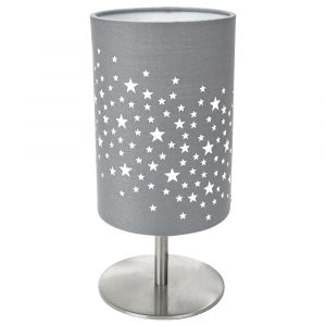 Beautiful Stars Decorated Children/Kids Soft Grey Cotton Bedside Table Lamp