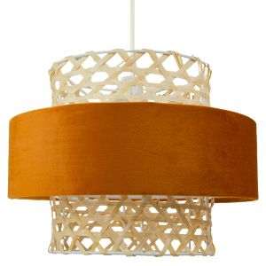 Unique Thin Rattan Strap Pendant Shade with Burnt Orange Velvet Round Shade