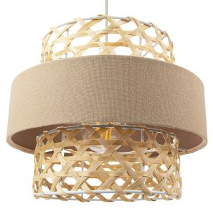 Contemporary Thin Rattan Strap Pendant Shade with Dark Taupe Linen Round Shade