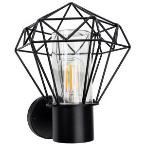 Modern and Trendy IP44 Outdoor Cage Wall Light in Matt Black with Clear Shade