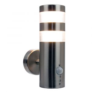 Modern Stainless Steel 6.3w LED Outdoor Sensor Wall Light Fitting IP44 Rated