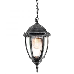 Traditional Black and Silver Outdoor IP44 Hanging Porch Lantern Light Fitting