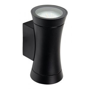 Modern IP44 Matt Black Outdoor Spot Wall Light Fitting with Curved Metal Body