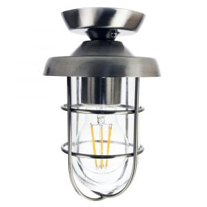 Industrial and Vintage Stainless Steel Outdoor Semi Flush Ceiling Light Fitting