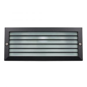 Matt Black Die-Cast Aluminium Outdoor Brick Light with Frosted Glass - IP44