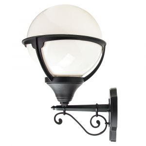 Traditional Outdoor Matt Black Wall Lantern Light with White Globe Diffuser