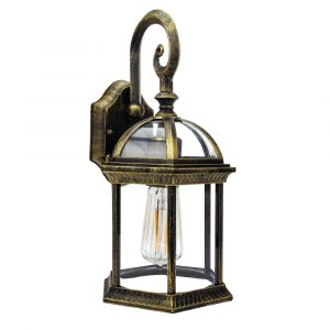 Traditional Black/Gold Cast Aluminium Outdoor IP44 Wall Lantern Light Fitting