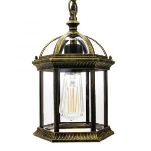 Traditional Black/Gold Cast Aluminium Outdoor IP44 Ceiling Lantern Light Fitting