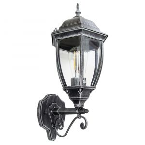 Classic Black/Silver Die-Cast Aluminium Outdoor IP44 Wall Lantern Light Fixture