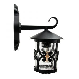 Classic Matt Black Lantern IP44 Outdoor Wall Light with Unique Bubble Glass
