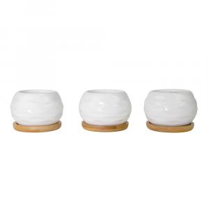 Beautiful Ripple Effect White Ceramic Tabletop Plant Pot Set w/ Bamboo Coasters