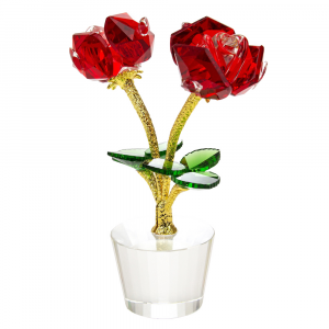 Beautiful Red Rose Crystal Glass Ornament with Green Leaves and Gold Foil Stems