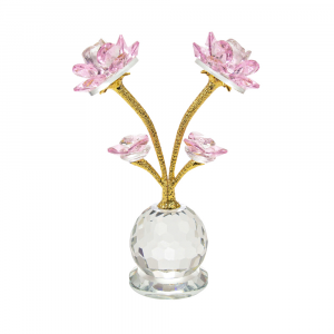 Modern Pink Rose Crystal Glass Ornament with Spherical Base and Gold Foil Stems