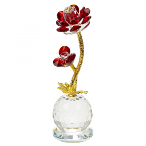 Modern Red Rose Crystal Glass Ornament with Spherical Base and Gold Foil Stems