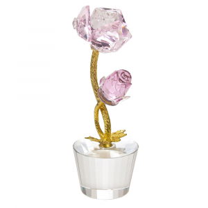Beautiful Pink Rose Crystal Glass Ornament with Clear Base and Gold Foil Stems