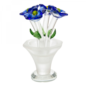 Beautiful Deep Blue Floral Crystal Glass Sculpture with Small Green Leaves
