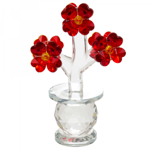Beautiful Deep Red Floral Crystal Glass Sculpture with Sparkling Amber Buds