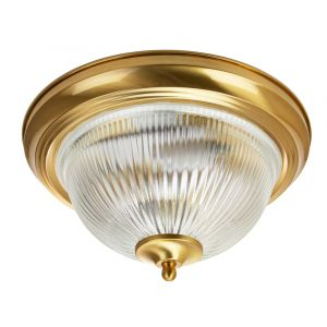 Traditional Brushed Satin Brass IP44 Bathroom Ceiling Light Fitting with Glass