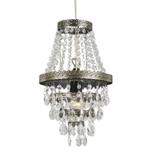 Traditional Brass Pendant Light Shade with Clear Acrylic Decoration
