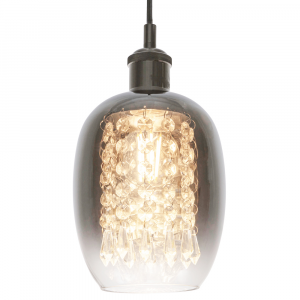 Modern Chrome and Clear Glass Pendant Shade with Hanging Crystal Glass Droplets