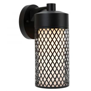 Contemporary IP44 Outdoor Matt Black Wall Light with Grill Mesh Unique Design