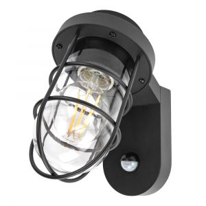 Industrial Designer Matt Black Outdoor Sensor Controlled Wall Light Fitting