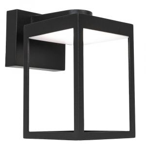 Modern LED IP54 Lantern Cage Design Outdoor Wall Light Fitting in Matt Black