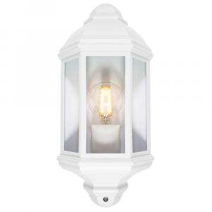 Traditional Outdoor Matt White Cast Aluminium Flush Wall Lantern Light Fitting