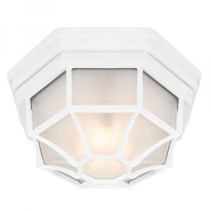 Traditional Hexagonal Matt White Flush Ceiling Porch Light Fitting with Glass