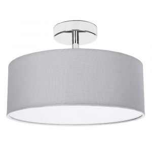 Contemporary Grey Linen Fabric Semi Flush Ceiling Light Fixture with Diffuser